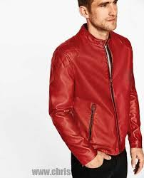 red jackets j8hxwbd2huo5qygc man faux leather jacket with stand collar
