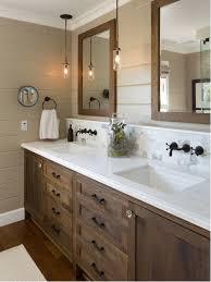 bathroom farmhouse white tile and stone tile bathroom idea in san go with dark wood