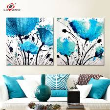 oil painting wall art canvas prints abstract blue flowers modern modular wall pictures for living room on canvas wall art blue flowers with oil painting wall art canvas prints abstract blue flowers modern