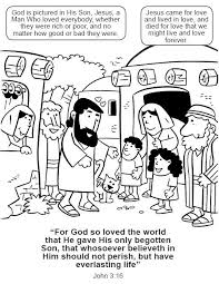 John 3 16 Coloring Pages Jesus John3 Bible Book