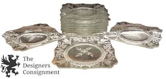 set of 10 vintage cambridge tapered square glass dessert plates frosted fl