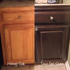 tips and ideas how to update oak wood cabinets before and after stain oak cabinets from golden oak to a darker stain colour with gel stain or java