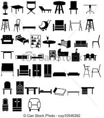 Mix furniture Illustration of different types of chairs stock