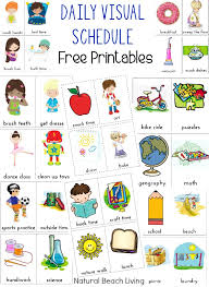 Kids Routine Chart Daily Visual Schedule For Kids Free Printable Natural