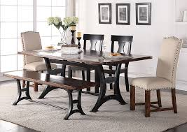 astor rectangular dining table w 2 wood 2 upholstered chairs dining bench