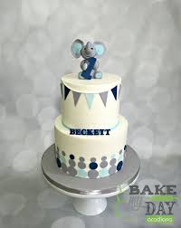 Boys First Birthday Cake Iced In Buttercream With A Navy Light