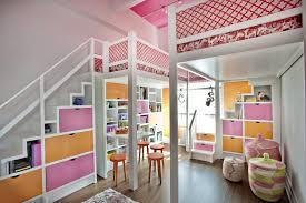 Pink and Orange Lofted Girls Room