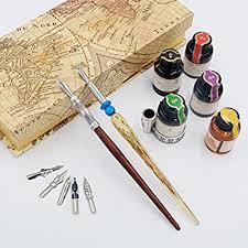 GC QUILL <b>Calligraphy</b> Pen Set-5 Bottle Ink-<b>100</b>% Hand Craft-Wood ...