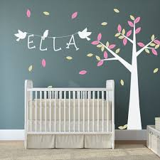 nursery tree with personalised name wall sticker on personalised baby wall art uk with childrens and kids wall stickers nursery wall vinyls by wallboss