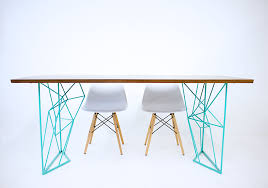modern steel furniture. Custom Made The Yoshi Dining Table; Modern Steel Rod Table With Teal Base Furniture