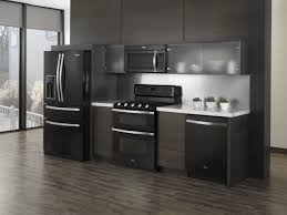Black Kitchen Cabinet Ideas With Black Grey Kitchen Appliance Package  Designed With Small Frosted Glass Door