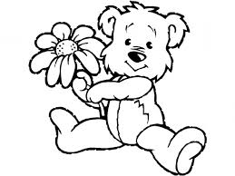 Small Picture teddy bear with a flower Free Printable Coloring Pages For