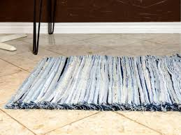 with the help of a stiff wire brush the edges of the denim are instantly frayed giving the rug color pattern and gorgeous soft texture