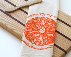 Kitchen Towel Craft Natural Flour Sack Tea Towel Orange Slice Hand Screen