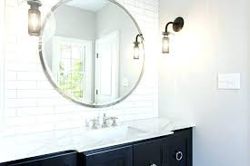 vanity mirror large round with black bath countertop lights