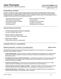 Marketing Resume Description Oneswordnet