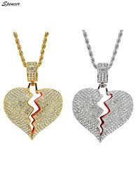 spencer spencer iced out diamond broken heart pendant necklace chain for men women couple jewelry gifts gold com