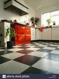 Red Floor Tiles Kitchen Red Aga Oven In White Kitchen With Black White Ceramic