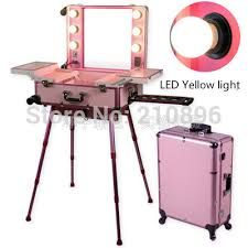 led yellow light pink professional aluminum trolley makeup case with lights lighted box