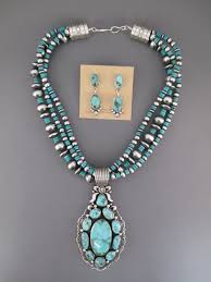 pilot mountain turquoise necklace earrings set by native american navajo jewelry artist