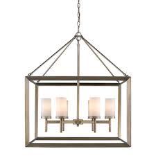 golden lighting smyth 6 light white gold chandelier with opal glass shades
