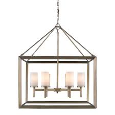 golden lighting smyth 6 light white gold chandelier with opal glass shades