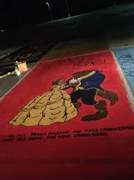 my painted parking spot beauty and the beast parking spotsparking spot paintingfundraising