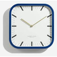 london clock company square blue wall