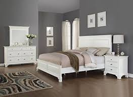Wonderful Roundhill Furniture Laveno 012 White Wood Bedroom Furniture Set, Includes Queen  Bed, Dresser,