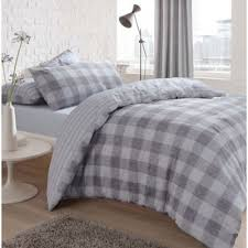 gingham check grey reversible duvet quilt cover bedding pillow case single 267179 p5634 15382 image jpg