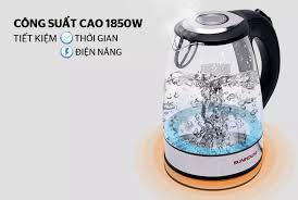 Ấm siêu tốc thủy tinh 1L7 SUNHOUSE SHD1217 - ấm đun nước siêu tốc đế xoay  360 độ - tự ngắt - thiết kế đèn LED thông minh và thẩm mỹ