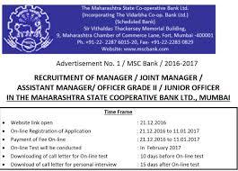 Maharashtra State Cooperative Bank Recruitment 2017