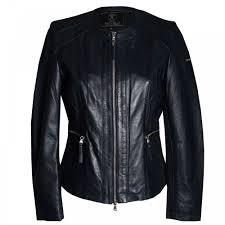 rino pelle rino pelle women s long sleeve blue leather jacket