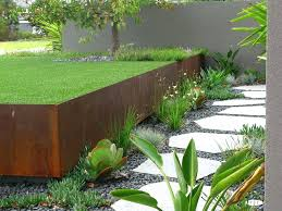 decoration fabulous retaining wall decorating ideas for delightful landscape industrial design with cor ten grass