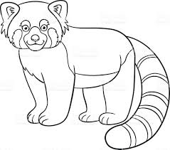 Small Picture Coloring Pages Little Cute Red Panda Smiles stock vector art