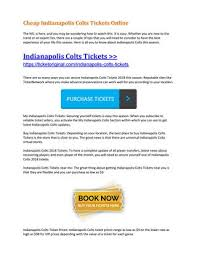 Cheap Indianapolis Colts Tickets Online By Ticket Original