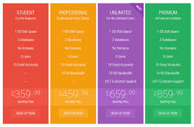 Pricing Table Templates Flat Pricing Table