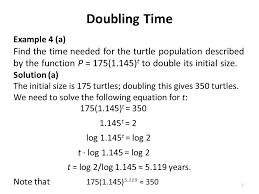3 doubling time logarithms and exponential models ppt