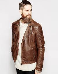 asos brand faux leather biker jacket in brown