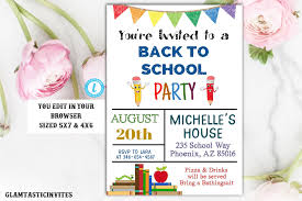 Back To School Invitation Template Back To School Party Invitation Template Editable Printable Instant