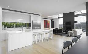 Living Room Kitchen White And Blue Modern Kitchen Design With Table And Cabinet
