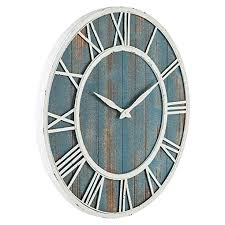 La crosse technology atomic analog wall clock. 24 Coastal Wall Clock Metal Solid Wood Noiseless Weathered Beach Blue Wall Clock Coastal Blue 24 Inch Beachfront Decor