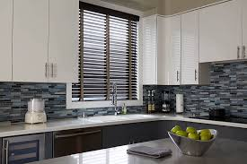 black wooden blinds. Real Wood Blind With Fabric Tape Finishes The Look Of This Contemporary Kitchen Black Wooden Blinds
