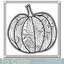 Small Picture Patterned Pumpkin Coloring Page for Adults Instant by ToColor