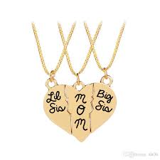 whole mother jewelry gift big sis lil sis mom puzzle heart pendants matching necklaces set mother s day gift from daughter diamond heart necklace silver