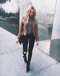 brown leather jacket striped shirt black skinny jeans