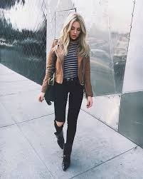 brown leather jacket striped shirt black skinny jeans