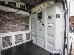 interior showing installed parion with window 2018 ford transit 350 high roof cargo van 148