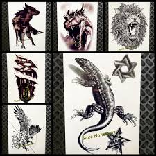 5858 руб 8 скидка3d черная ящерица временные татуировки наклейки Gecko Lacertid дизайн