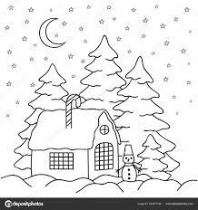 Vettore Di Paesaggi Invernali Da Stampare Casa Di Villaggio Di